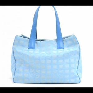 Rare Travel Line CHANEL TOTE BAG Baby Blue Auth!